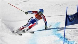 France's Missillier skis during the second run of the men's alpine skiing giant slalom event at the 2014 Sochi Winter Olympics