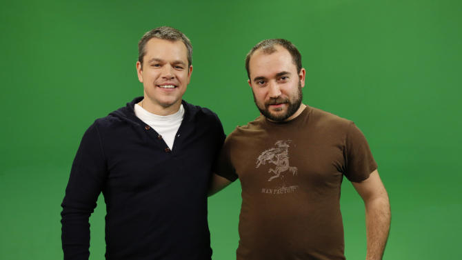 IMAGE DISTRIBUTED FOR WATER.ORG - (L to R) Water.org's Matt Damon is interviewed by YouTube star WheezyWaiter after Damon announces a toilet strike in protest of the 2.5 billion people who lack access to safe water and sanitation, and asks for help at http://strikewithme.org as of Tuesday, Feb. 12, 2013 in Los Angeles. (Photo by Todd Williamson/Invision for Water.org/AP Images)
