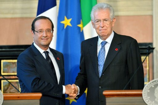 &lt;p&gt;French President Francois Hollande (L) shakes hands with Italian Prime Minister Mario Monti during a joint press conference following their meeting at the Villa Madama in Rome. Monti called Tuesday on the European Union to recognise efforts made by countries to overcome the economic crisis by moving to bring down punishing borrowing costs.&lt;/p&gt;