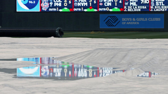 The scoreboard at Target Field is reflected in a puddle on the tarp covering the field during a rain delay prior to the Toronto Blue Jays against the Minnesota Twins baseball game, Friday, May 29, 2015, in Minneapolis. (AP Photo/Jim Mone)