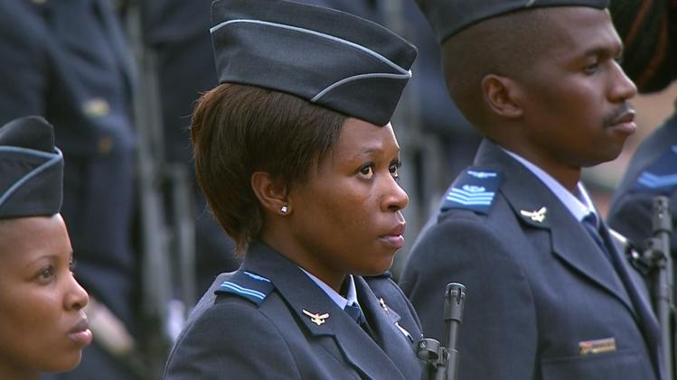 Still image from SABC video shows a member of the military standing outside the Union Buildings in Pretoria