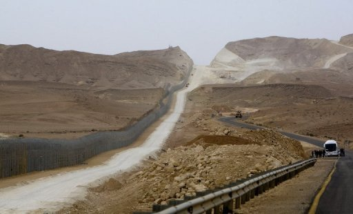 A fence is pictured along Israel's border with Egypt in February 2012