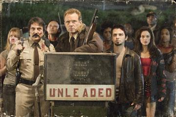 "Tom Savini , Michael Biehn , Freddy Rodriguez and Rose McGowan in the ""Planet Terror"" segment of Dimension Films' Grindhouse"