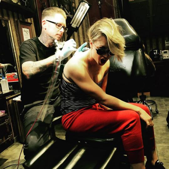 Everything's Cool, Guys: Kaley Cuoco Tattooed a Giant Bug on Her Back to Cover Up Her Wedding Tattoo