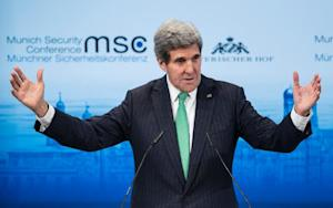 US Secretary of State John Kerry speaks during the …