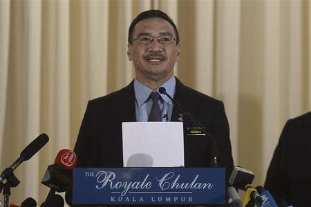 Malaysia's Defence Minister and acting Transport Minister Hishammuddin speaks at a news conference in Kuala Lumpur