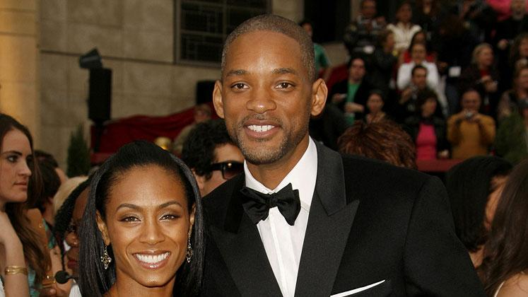 "Jada Pinkett Smith, Will Smith, nominee Best Actor in a Leading Role for ""The Pursuit of Happyness"" and Jaden Smith at The 79th Annual Academy Awards."