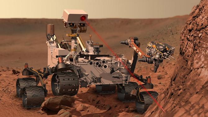 This artists rendering provided by NASA shows the Mars Rover, Curiosity. After traveling 8 1/2 months and 352 million miles, Curiosity will attempt a landing on Mars the night of Aug. 5, 2012. (AP Photo/NASA)