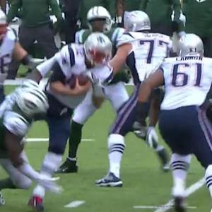 New England Patriots quarterback Tom Brady sacked by Richardson