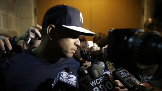 New York Yankees' Alex Rodriguez pauses while talking with the media before an opening day a baseball game against the Boston Red Sox, Monday, April 1, 2013, in New York. (AP Photo/Matt Slocum)