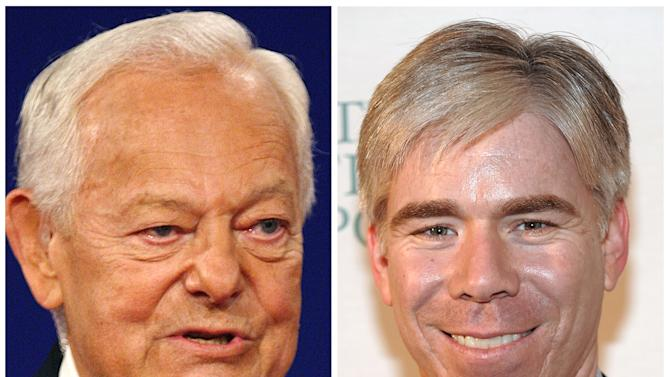 "This photo combo shows CBS' ""Face the Nation"" host Bob Schieffer, left, and NBC's ""Meet the Press"" host David Gregory. CBS' Sunday morning public affairs television show ""Face the Nation"" has clearly gotten under the skin of its rivals at NBC's ""Meet the Press."" NBC accuses CBS of some trickery in the Nielsen ratings and in scheduling designed to make its show seem more popular than it actually is. CBS detects the aroma of sour grapes. The incident is a vivid illustration of a newly competitive era on Sundays. (AP Photo/Ron Edmonds, Evan Agostini)"