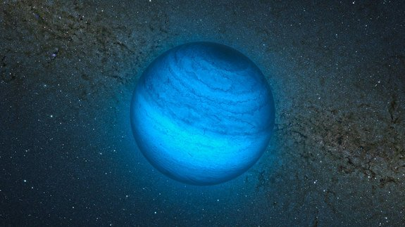 "This artist's impression shows the free-floating planet CFBDSIR2149, at 100 light-years away the closest such ""rogue"" world to our own solar system. It does not orbit a star and hence does not shine by reflected light; the faint glow it emits c"