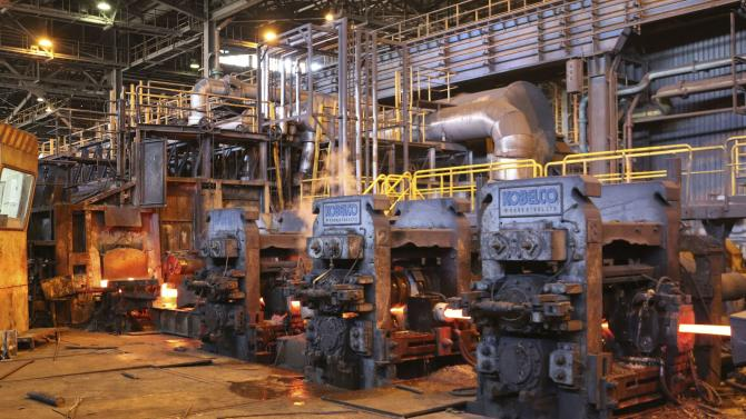 A general view of steel production at the Libyan Iron and Steel Company in Misrata