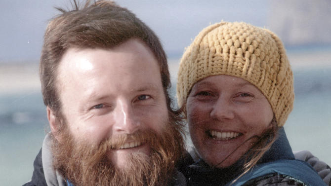 In this undated family photo supplied Monday Feb. 18, 2013, showing British couple Peter Root and Mary Thompson, both 34, who were killed in Thailand Wednesday Feb. 13, 2013, in a road accident during their round-the-world cycling odyssey.  The couple from Britain's Guernsey in the Channel Islands, left Britain in July 2011 and had cycled through Europe, the Middle East, Central Asia and China, a journey chronicled on the website Two on Four Wheels, until tragedy struck.(AP Photo/Jerry Root) NO SALES