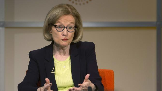 Nouy, chair of the Supervisory Board of the European Central Bank speaks at a Thomson Reuters newsmaker event in London