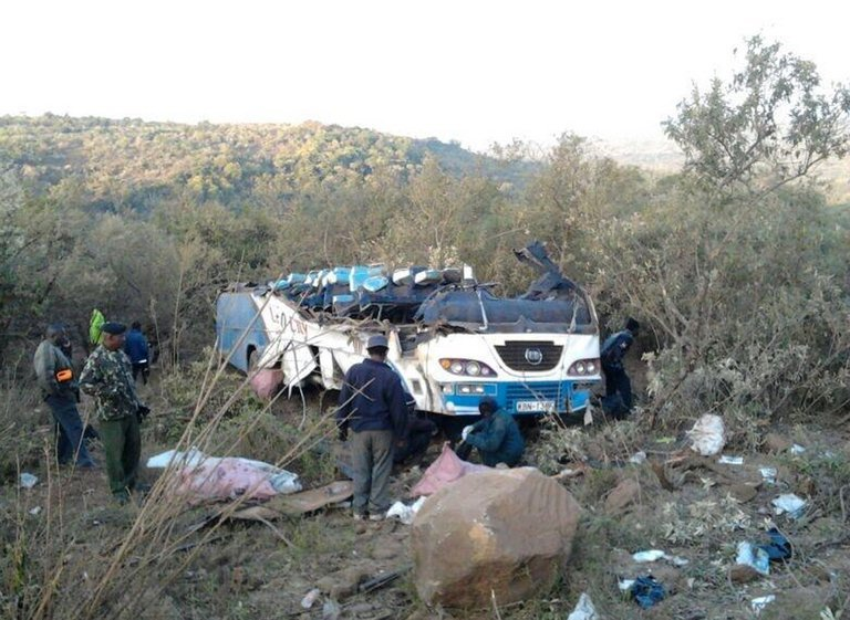 A bus which crashed near the town of Narok, west of Nairobi, on August 29, 2013, in a photo from the Red Cross
