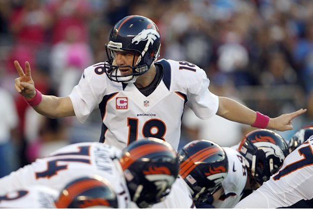 Denver Broncos quarterback Peyton Manning motions to teammates during the first half of an NFL football game against the San Diego Chargers, Monday, Oct. 15, 2012, in San Diego. (AP Photo/Lenny Ignelz