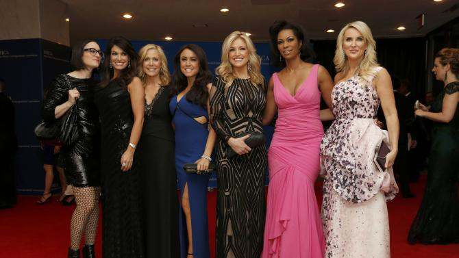 Fox News channel talent arrive for the annual White House Correspondents' Association dinner in Washington