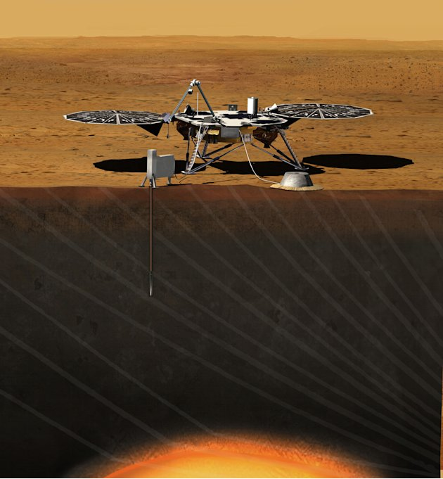 This image provided by NASA shows an artist rendition of the proposed InSight (Interior exploration using Seismic Investigations, Geodesy and Heat Transport) Lander. After driving all around Mars with