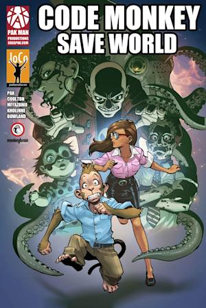 "This comic book cover image released by Pak Man Productions shows ""Code Monkey Save the World,"" by musician Jonathan Coulton and writer Greg Pak. The pair turned to Kickstarter Monday to fund the 60-page, four-part graphic novel that will be released digitally through Monkeybrain Comics and Comixology, followed by a paperback edition. (AP Photo/Pak Man Productions)"