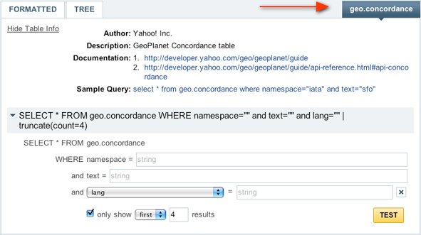 Yahoo! Query Language's Query Builder