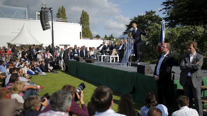 Sarkozy delivers a speech during the summer university camp held by Loire-Atlantique Republicans Party in La Baule