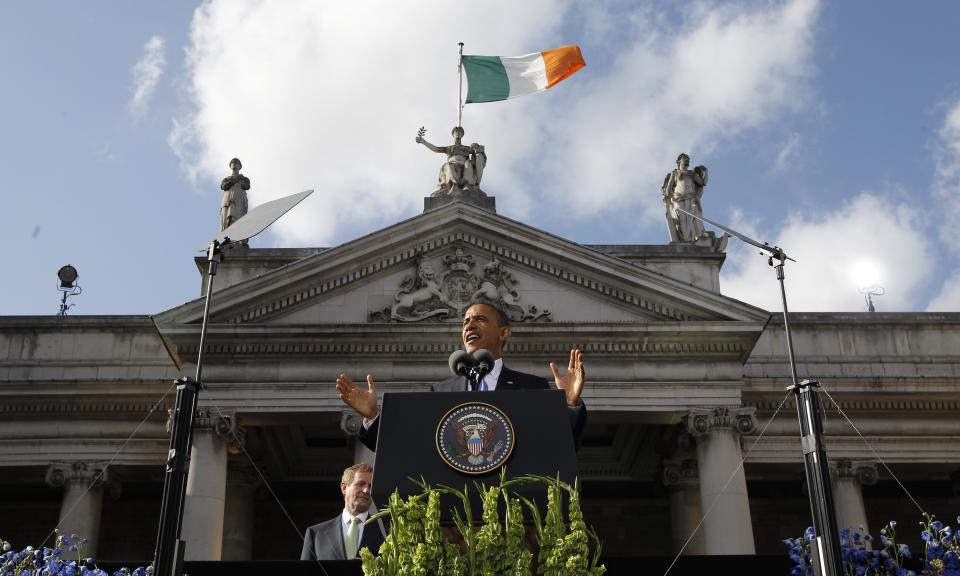 U.S. President Barack Obama speaks at College Green in Dublin, Ireland, Monday, May 23, 2011. (AP Photo/Charles Dharapak)