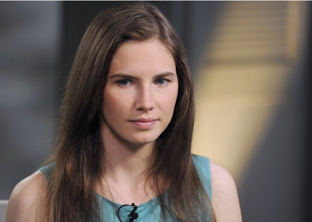 Amanda Knox speaks to Diane Sawyer in New York in this undated handout photo
