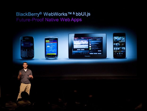 FILE- In this Thursday June 21, 2012, file photo, Tim Neil, Research In Motion Ltd.'s Canadian Operating Director of Operations, Platforms and Tools, speaks about the Blackberry 10 architecture during the RIM Blackberry 10 Jam World Tour in Toronto. Struggling BlackBerry maker Research in Motion Ltd. revealed Thursday, June 28, 2012, that its business is crumbling faster than thought. The Canadian company posted worse results for its latest quarter than analysts had expected. It's cutting 5,000 jobs and delaying the launch of its new phone operating system, BlackBerry 10, on which it's pinning its hope for a comeback (AP Photo/The Canadian Press, Aaron Vincent Elkaim)