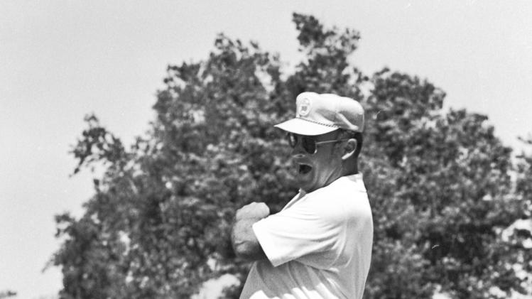 FILE - In this April 20, 1970, file photo, Miller Barber lets out a yowl after sinking a 12-foot birdie putt on the second hole of a sudden-death playoff to win the New Orleans Open golf tournament in New Orleans. Barber, the unique-swinging golfer who made the most combined starts on the PGA and Champions tours, died Tuesday, June 11, 2013, the PGA said on Wednesday. He was 82. (AP Photo/File)