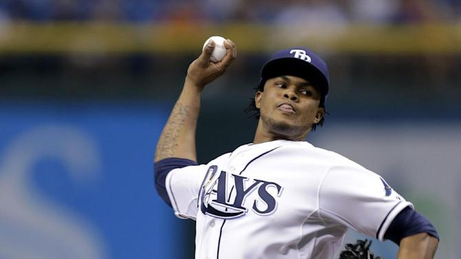 Tampa Bay Rays starting pitcher Alex Colome delivers to Detroit Tigers' Austin Jackson during the first inning of a baseball game, Friday, June 28, 2013, in St. Petersburg, Fla. (AP Photo/Chris O'Meara)