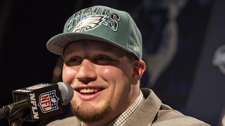 Lane Johnson, from Oklahoma, speaks during a news conference after being selected fourth overall by the Philadelphia Eagles during the first round of the NFL football draft, Thursday, April 25, 2013, at Radio City Music Hall in New York. (AP Photo/Craig Ruttle)