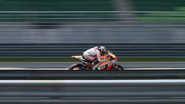 Honda MotoGP rider Marc Marquez of Spain rides in the Sepang test