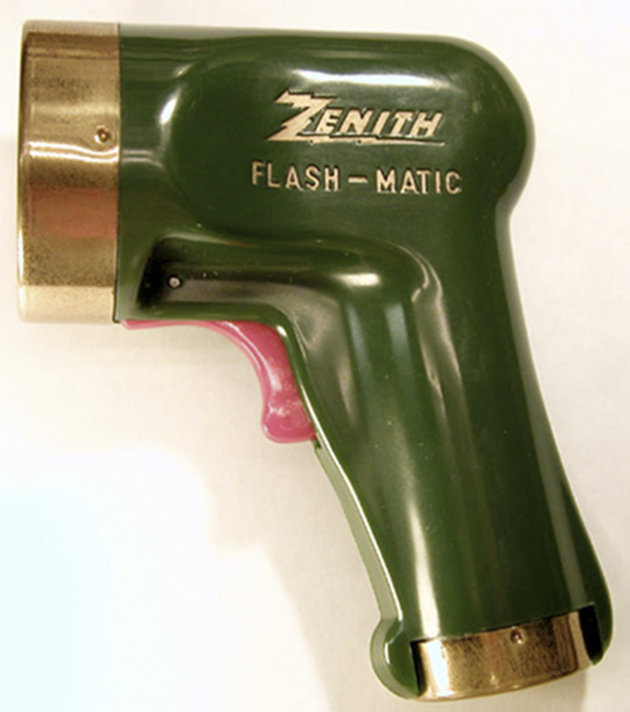 "This 1955 photo provided by LG Electronics, shows a Zenith ""Flash-Matic,"" the first wireless TV remote control. A spokesman for Zenith Electronics says Zenith engineer Eugene Polley, the inventor of t"