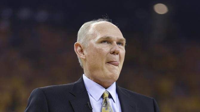 Denver Nuggets coach George Karl watches his team play the Golden State Warriors during the first half of Game 6 in a first-round NBA basketball playoff series in Oakland, Calif., Thursday, May 2, 2013. (AP Photo/Ben Margot)