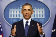 "U.S. President Barack Obama speaks about the sequester after a meeting with congressional leaders at the White House in Washington March 1, 2013. Obama pressed the U.S. Congress on Friday to avoid a government shutdown when federal spending authority runs out on March 27, saying it is the ""right thing to do."" REUTERS/Kevin Lamarque (UNITED STATES - Tags: BUSINESS POLITICS) - RTR3EG78"