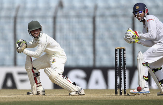 Bangladesh's Mominul Haque plays a shot on the fifth day of the second test cricket match against Bangladesh in Chittagong, Bangladesh, Saturday, Feb. 8, 2014. Sri Lanka and Bangladesh ended in a draw