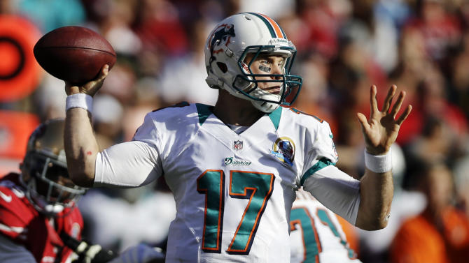 Miami Dolphins quarterback Ryan Tannehill throws during the second quarter of an NFL football game against the San Francisco 49ers in San Francisco, Sunday, Dec. 9, 2012. (AP Photo/Marcio Jose Sanchez)