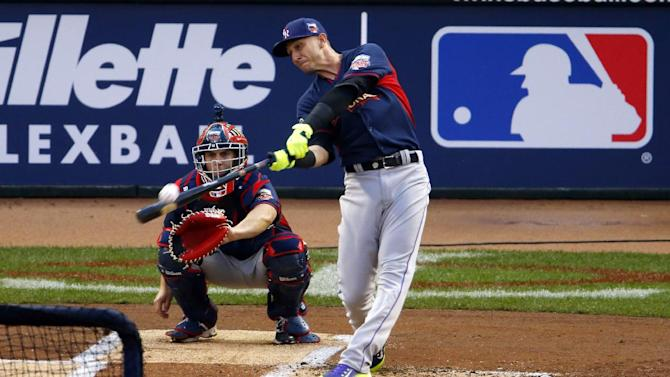 National League's Troy Tulowitzki, of the Colorado Rockies, hits during the MLB All-Star baseball Home Run Derby, Monday, July 14, 2014, in Minneapolis. (AP Photo/Paul Sancya)