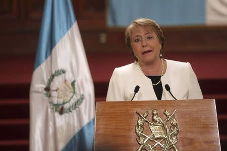 Chile's President Michelle Bachelet speaks at a news conference after her welcoming ceremony in the presidential palace in Guatemala City