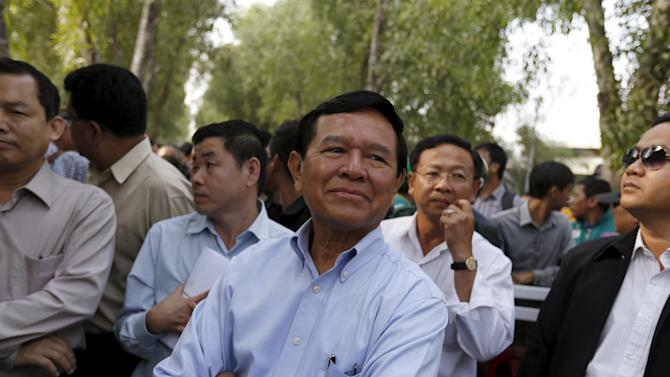 Kem Sokha vice president of the Cambodia National Rescue Party arrives to visit fellow party members at the Prey Sar prison on the outskirts of Phnom Penh