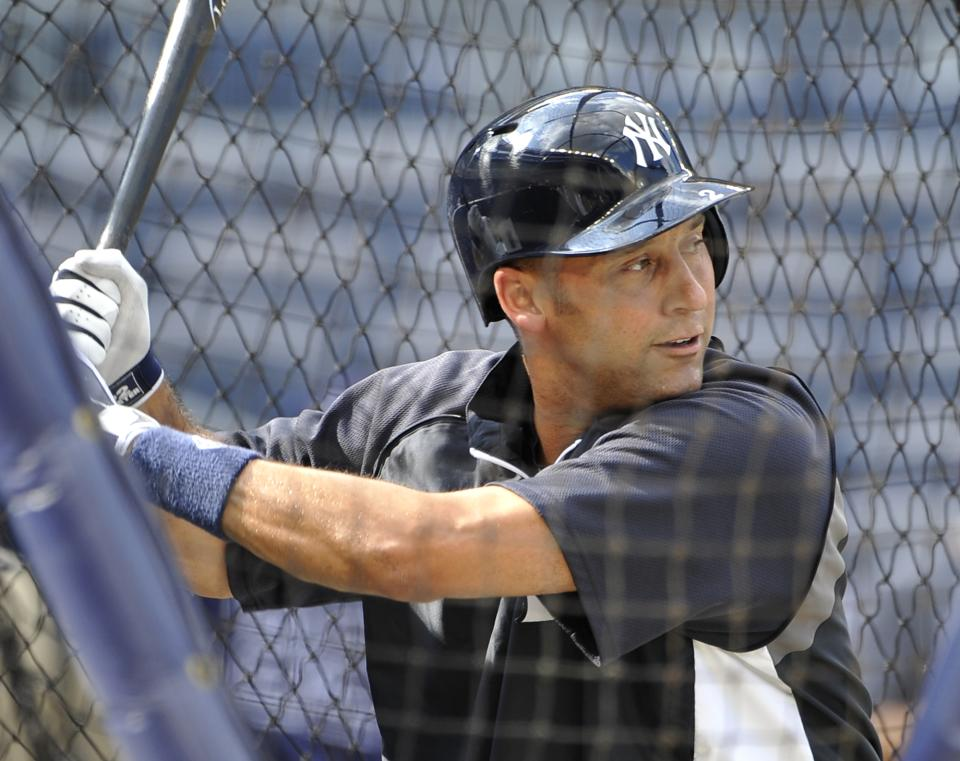 New York Yankees' Derek Jeter takes batting practice before the Yankees' baseball game against the Tampa Bay Rays at Yankee Stadium on Friday, July 26, 2013, in New York. (AP Photo/Kathy Kmonicek)