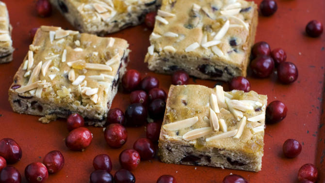 In this image taken on Monday, Nov. 5, 2012, cranberry ginger bars are shown in Concord, N.H. (AP Photo/Matthew Mead)