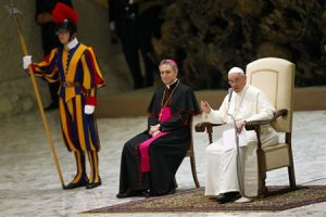 Pope Francis speaks as he leads a meeting celebrating the Year of the faith in Paul VI's hall at the Vatican