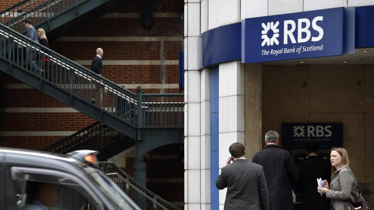People pass a branch of The Royal Bank of Scotland in central London