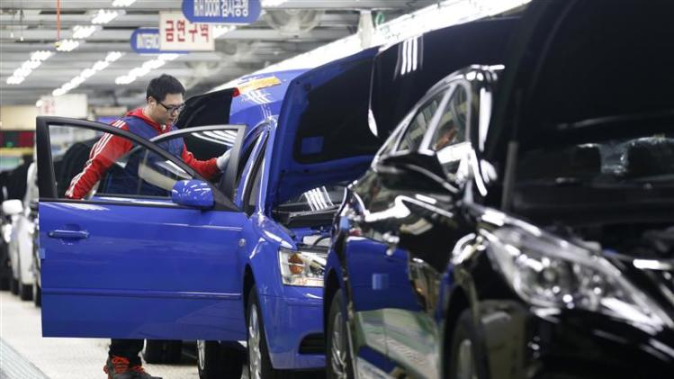 A worker works at a plant of Hyundai Motor in Asan