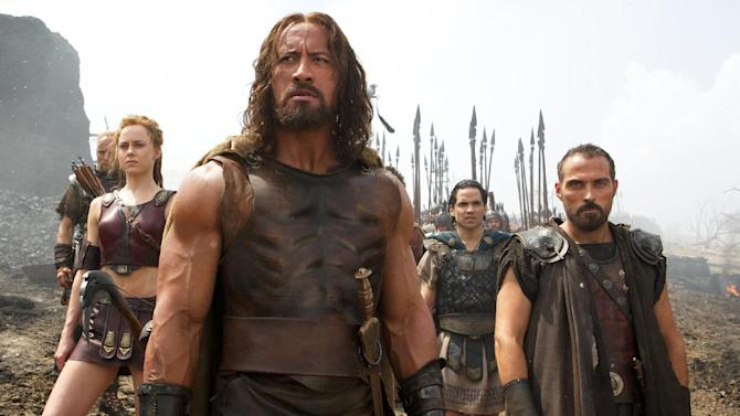 """This image released by Paramount Pictures shows, from left, Aksel Hennie as Tydeus, Ingrid Bolsø Berdal as Atalanta, Dwayne Johnson as Hercules, Reece Ritchie as Iolaus, and Rufus Sewell as Autolycus in a scene from """"Hercules."""" (AP Photo/Paramount Pictures, Kerry Brown)"""