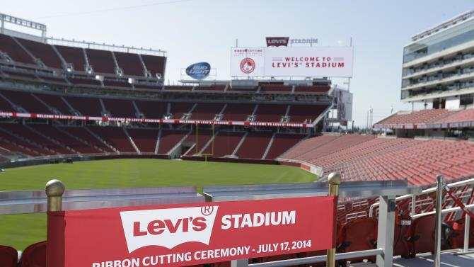 A ribbon prop for a photo booth is shown on the opening day of Levi's Stadium Thursday, July 17, 2014, in Santa Clara, Calif. The San Francisco 49ers held a ribbon-cutting ceremony to officially open their new home. The $1.2 billion Levi's Stadium, which took only about 27 months to build, also will host the NFL Super Bowl in 2016 and other major events. (AP Photo/Eric Risberg)