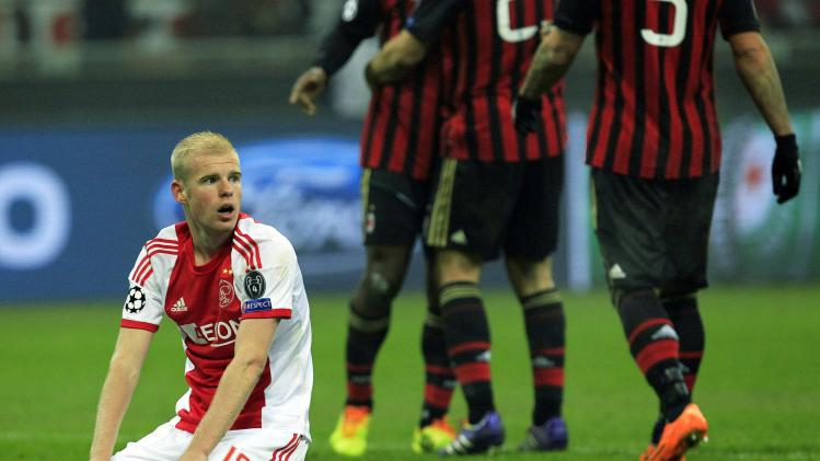 Ajax Amsterdam's Klaassen reacts after their Champions League soccer match against AC Milan in Milan
