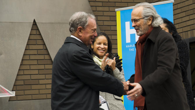"IMAGE DISTRIBUTED FOR HARLEM SCHOOL OF THE ARTS - From left to right, Mayor Michael R. Bloomberg, Yvette L. Campbell and Herb Albert attend the ""Harlem School of the Arts - The Herb Alpert Center"" building naming ceremony, on Monday, March 11, 2013 in New York. (Photo by Charles Sykes/Invision for Harlem School of the Arts/AP Images)"